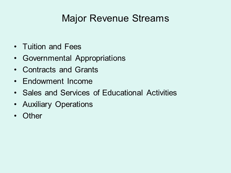 Major Revenue Streams Tuition and Fees Governmental Appropriations