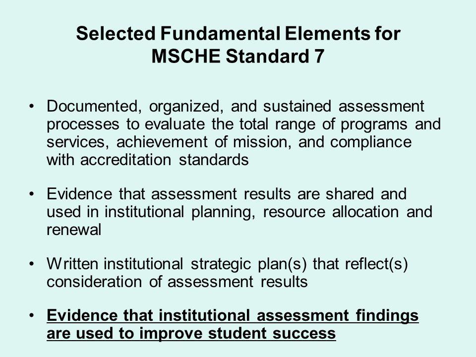Selected Fundamental Elements for MSCHE Standard 7