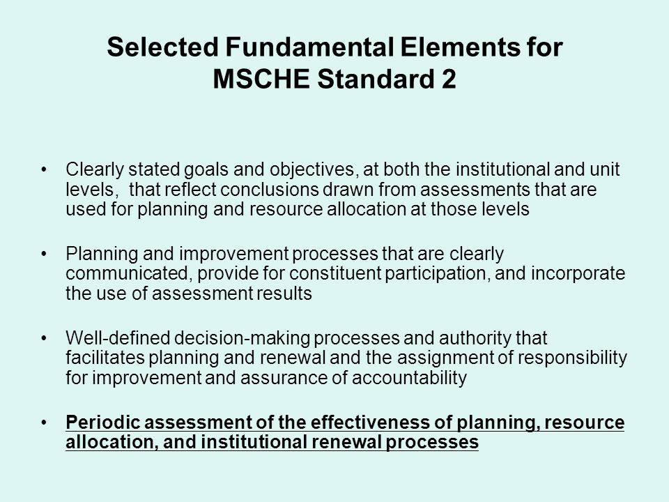 Selected Fundamental Elements for MSCHE Standard 2