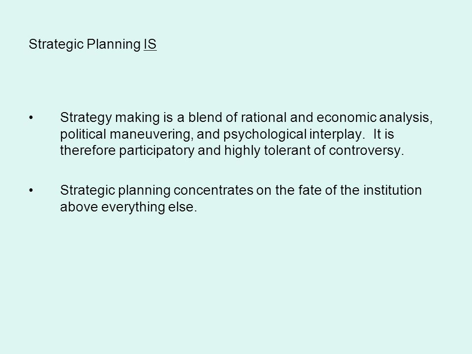 Strategic Planning IS