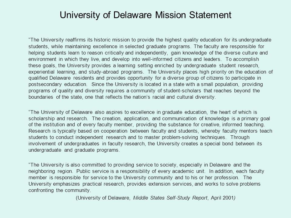 University of Delaware Mission Statement
