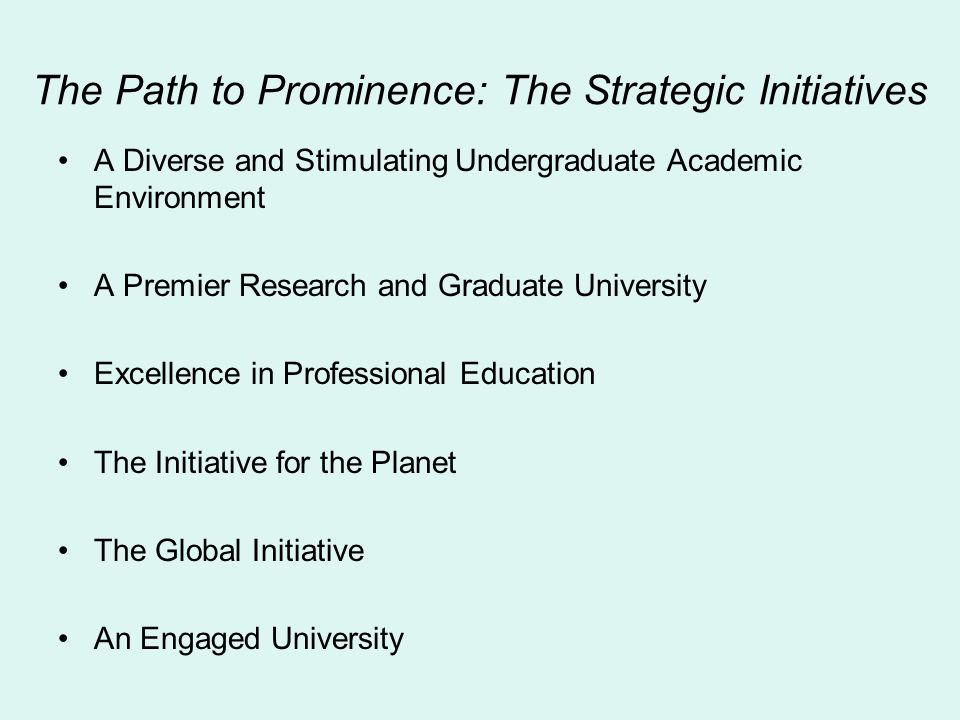 The Path to Prominence: The Strategic Initiatives