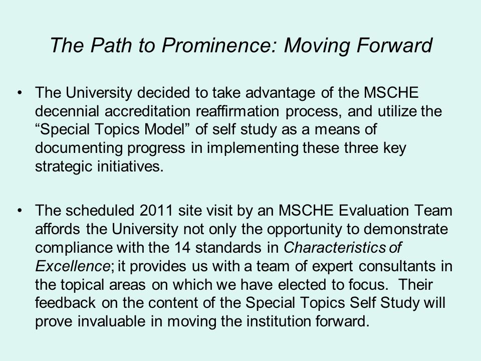 The Path to Prominence: Moving Forward