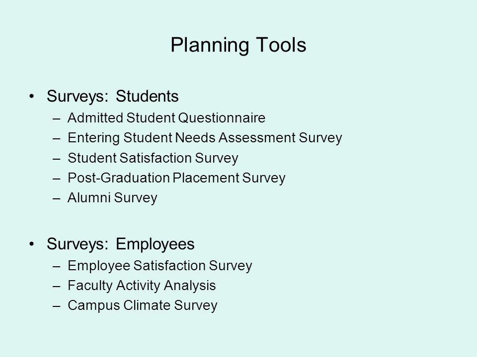 Planning Tools Surveys: Students Surveys: Employees