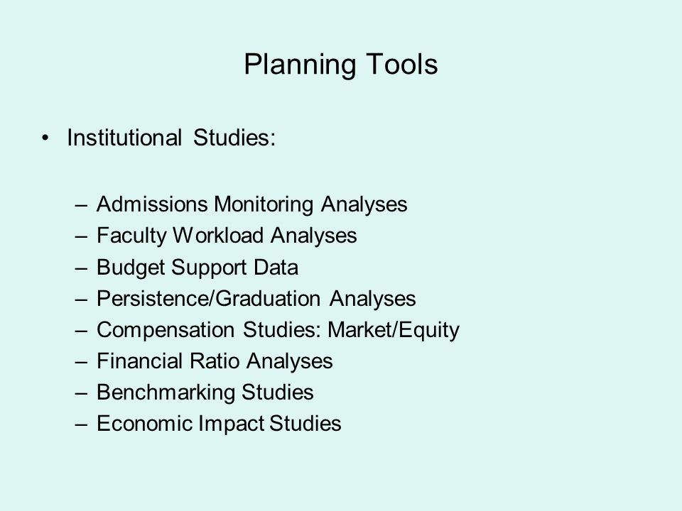 Planning Tools Institutional Studies: Admissions Monitoring Analyses