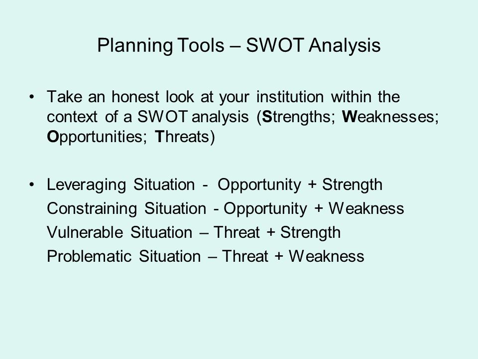 Planning Tools – SWOT Analysis