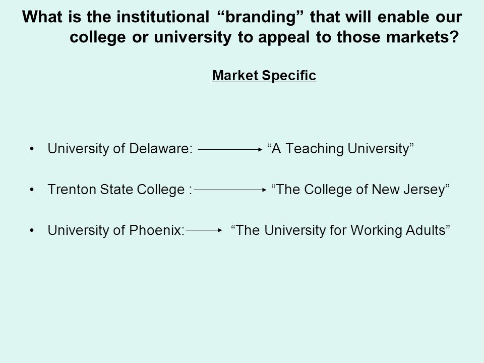 What is the institutional branding that will enable our college or university to appeal to those markets Market Specific