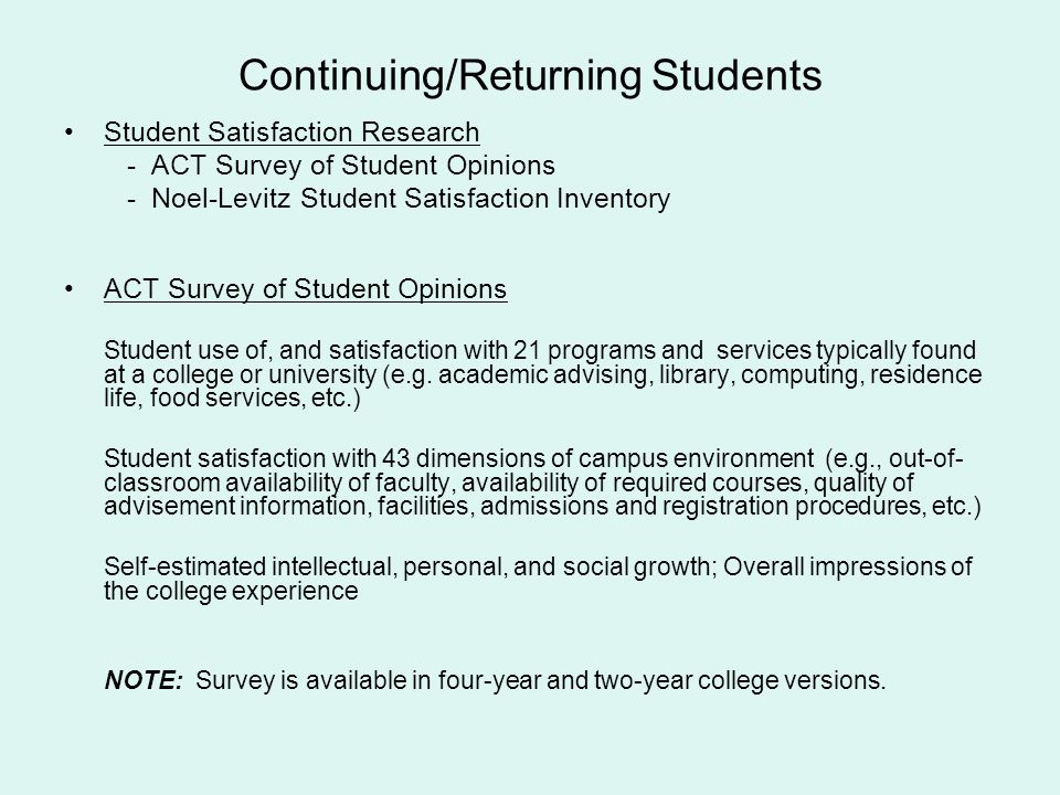 Continuing/Returning Students