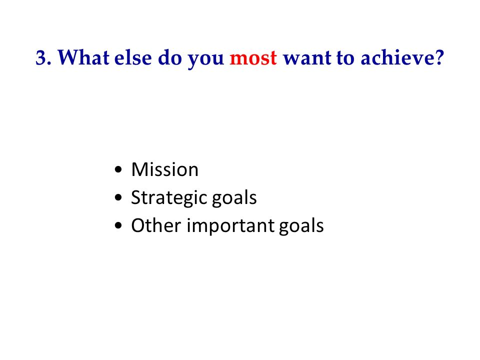 3. What else do you most want to achieve