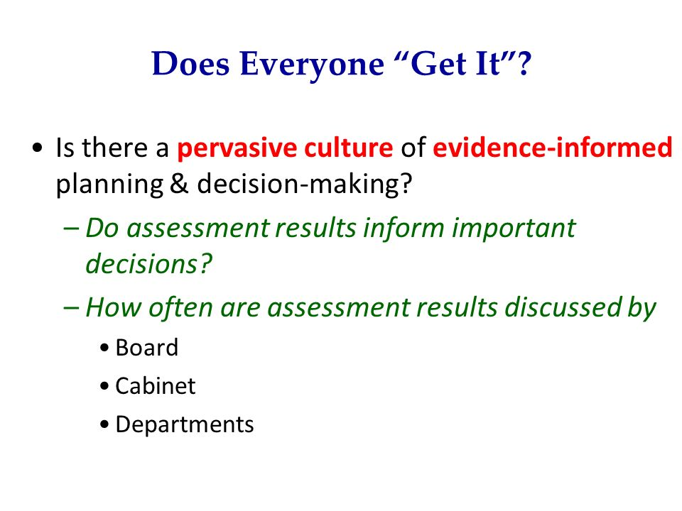 Does Everyone Get It Is there a pervasive culture of evidence-informed planning & decision-making