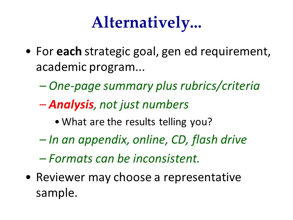 Alternatively... For each strategic goal, gen ed requirement, academic program... One-page summary plus rubrics/criteria.