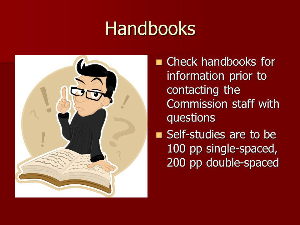 Handbooks Check handbooks for information prior to contacting the Commission staff with questions.