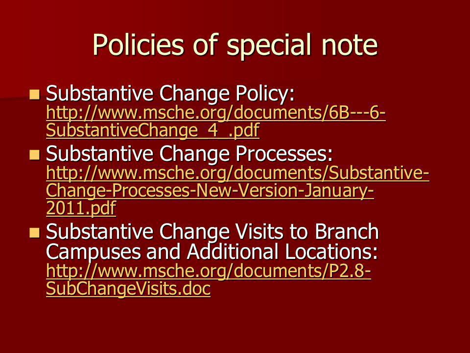 Policies of special note
