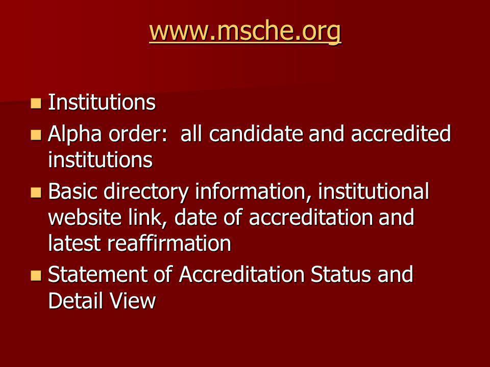 www.msche.org Institutions