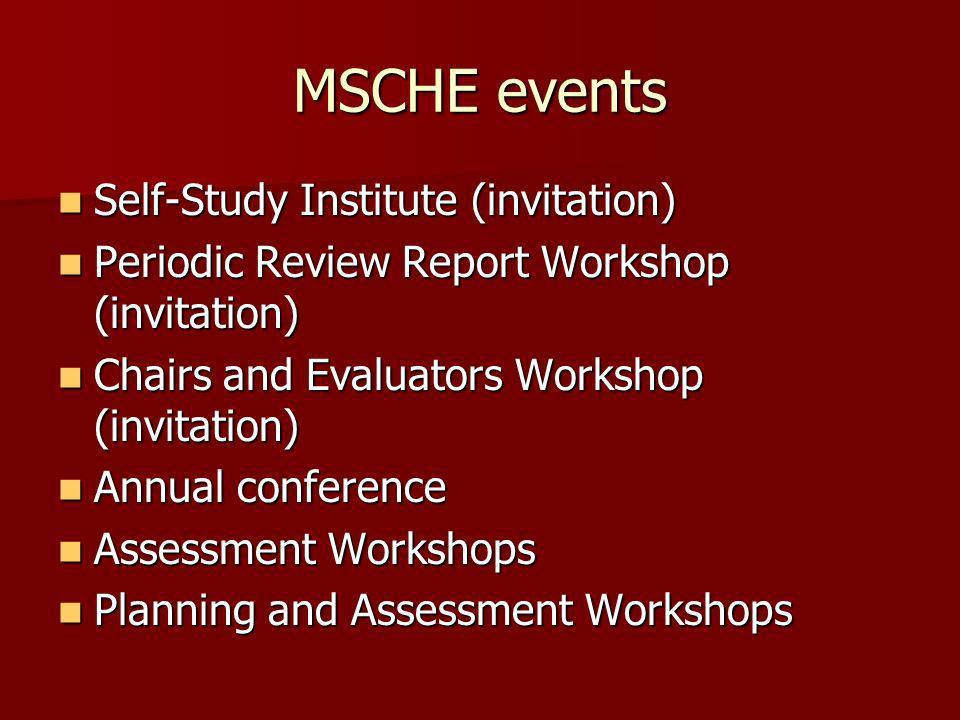MSCHE events Self-Study Institute (invitation)
