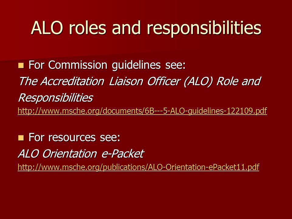 ALO roles and responsibilities