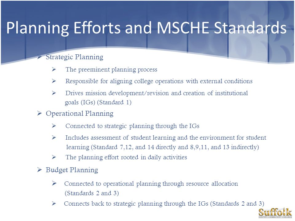 Planning Efforts and MSCHE Standards