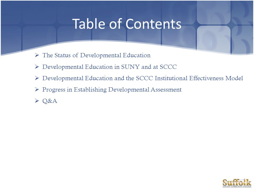 Table of Contents The Status of Developmental Education