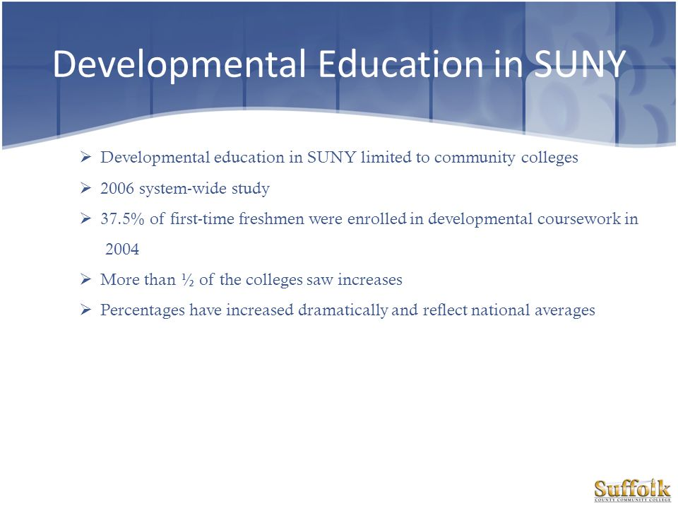 Developmental Education in SUNY