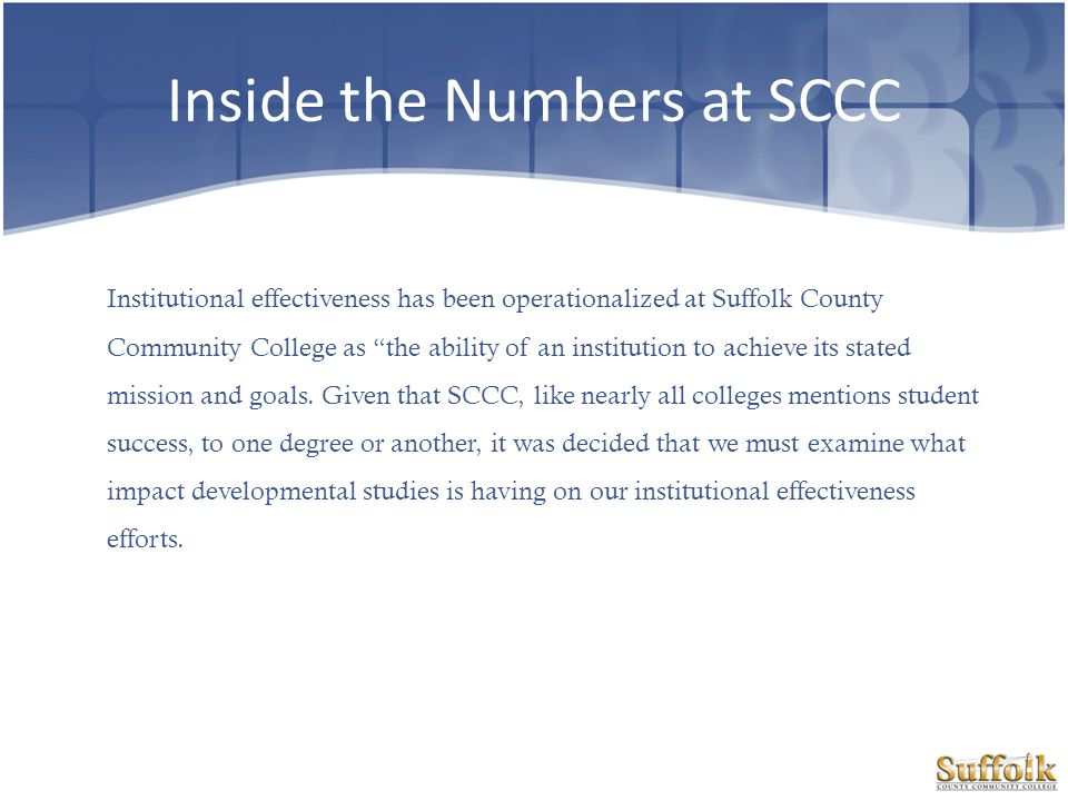 Inside the Numbers at SCCC