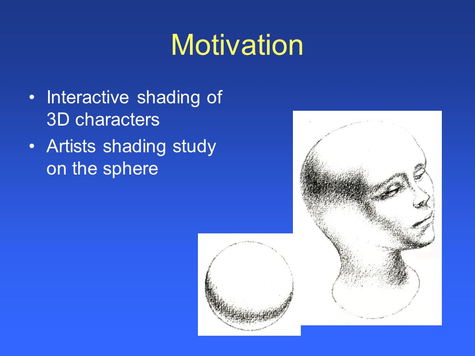 Motivation Interactive shading of 3D characters