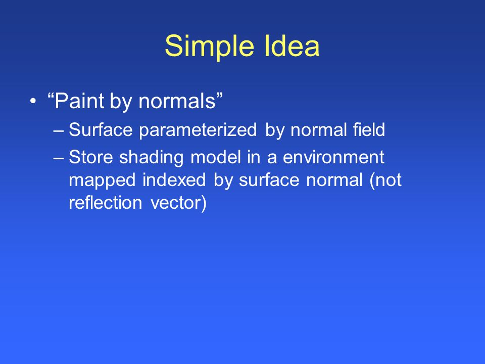 Simple Idea Paint by normals Surface parameterized by normal field