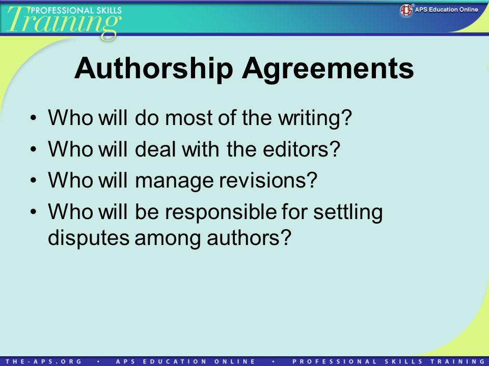 Authorship Agreements