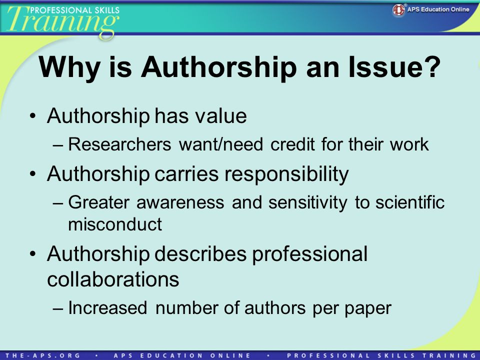 Why is Authorship an Issue