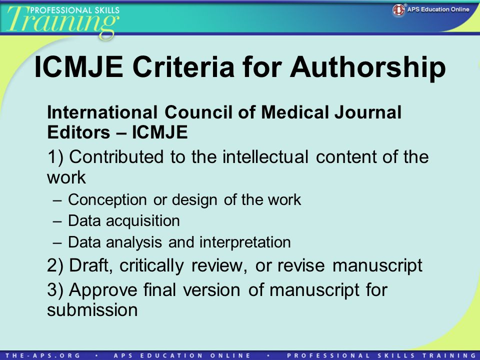 ICMJE Criteria for Authorship