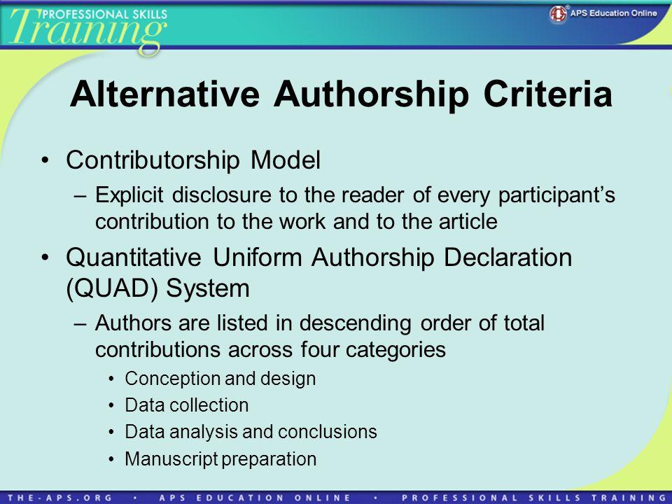 Alternative Authorship Criteria