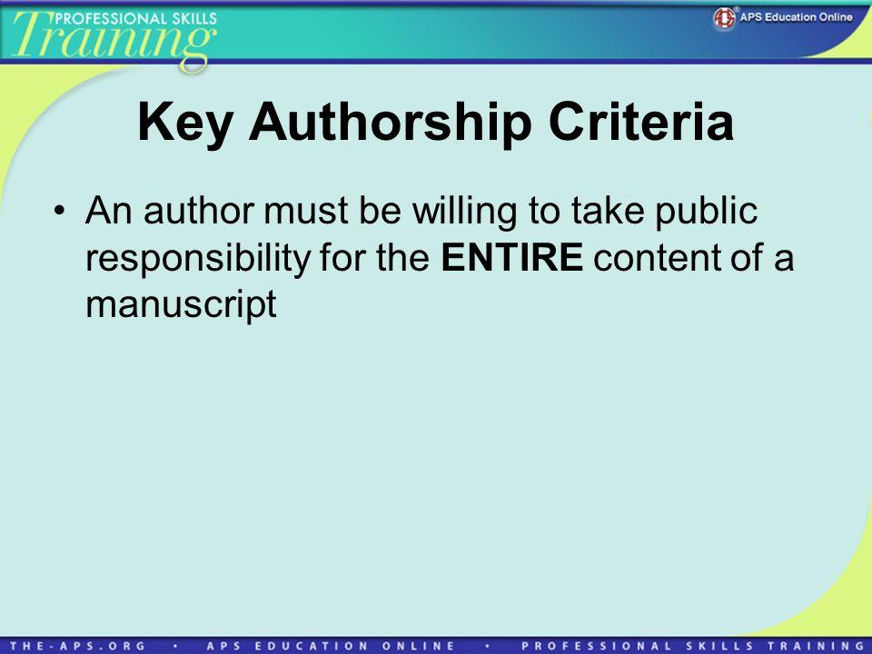 Key Authorship Criteria