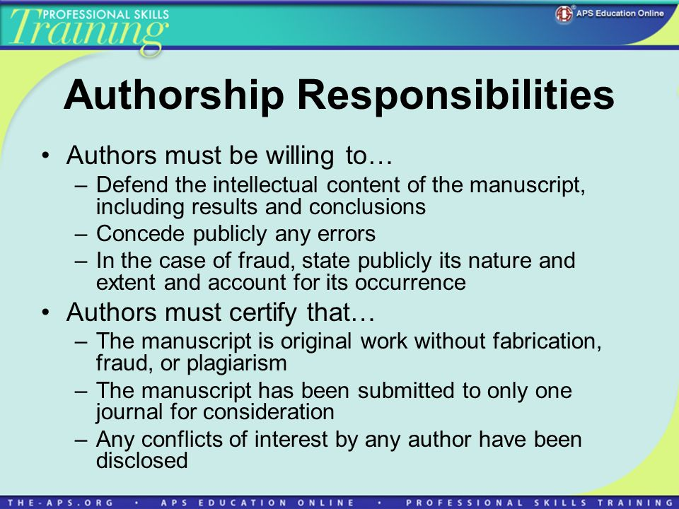 Authorship Responsibilities