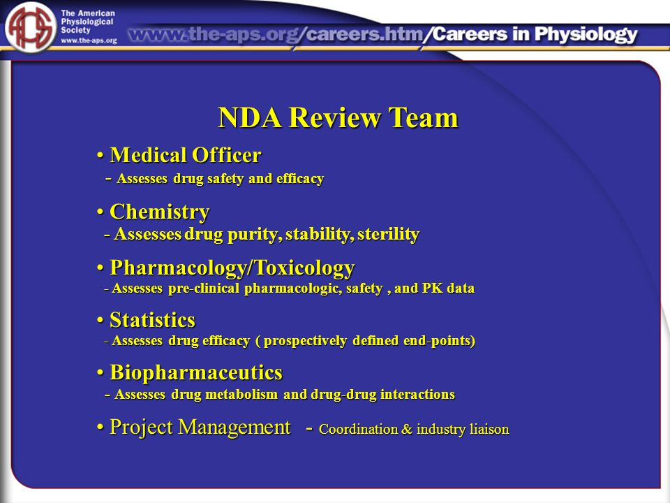 NDA Review Team Medical Officer Chemistry Pharmacology/Toxicology