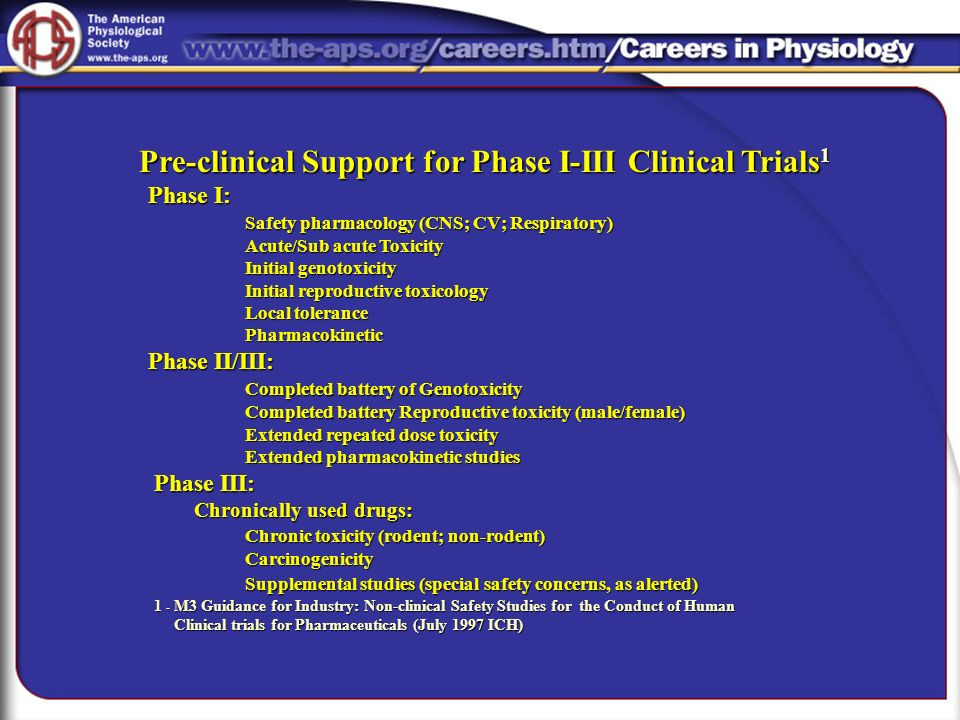 Pre-clinical Support for Phase I-III Clinical Trials1