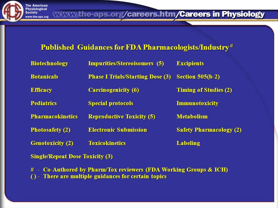 Published Guidances for FDA Pharmacologists/Industry #