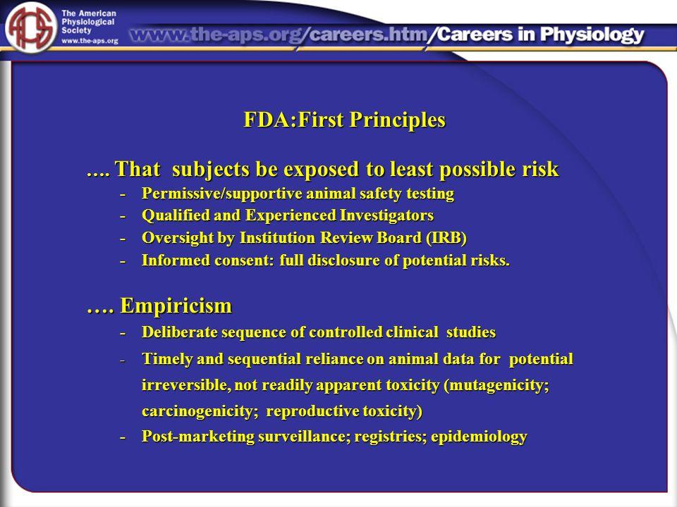 FDA:First Principles …. Empiricism