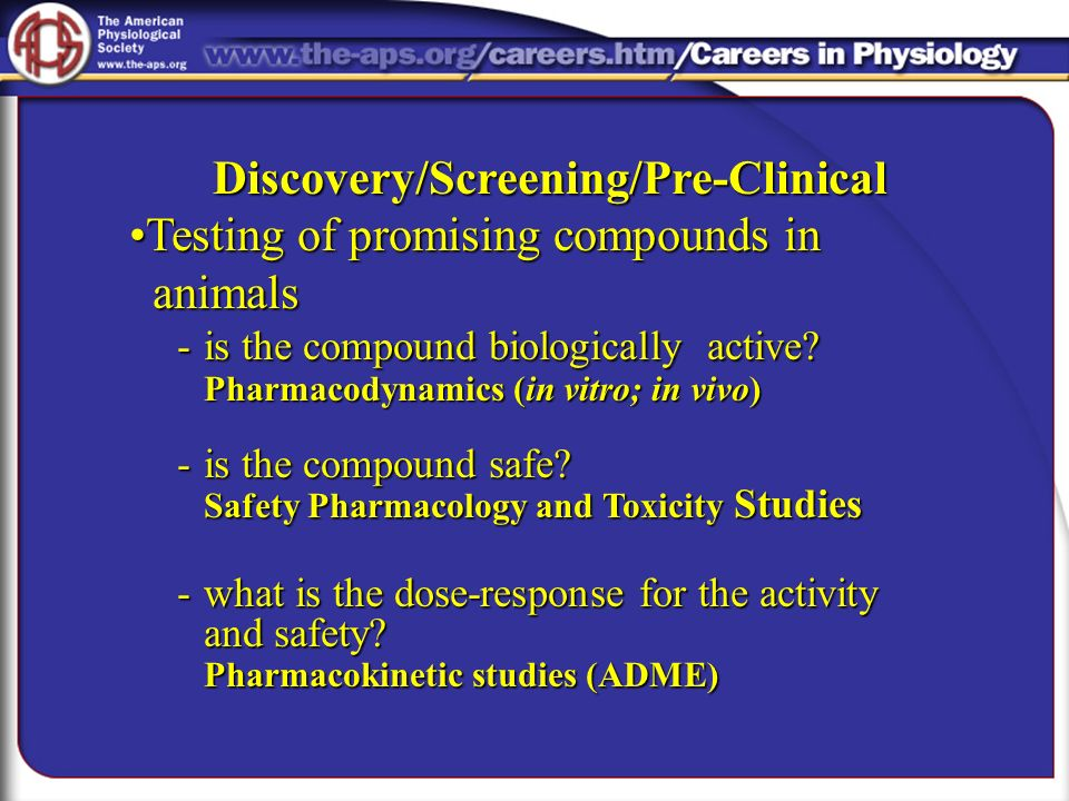 Discovery/Screening/Pre-Clinical Testing of promising compounds in