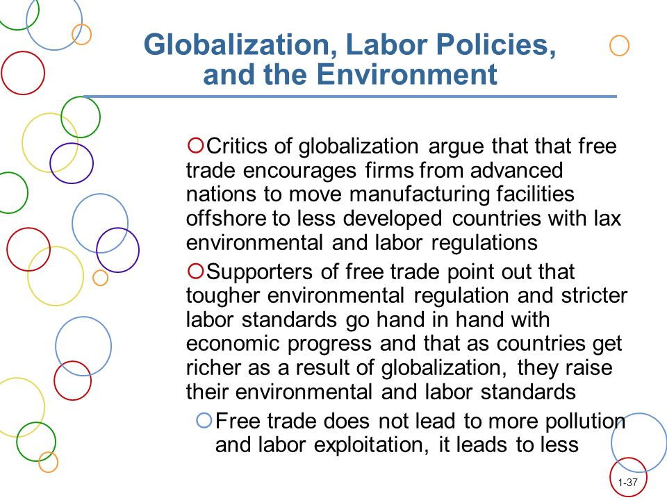 international trade labor and environmental regulations essay Since the 1970s an extensive network of environmental legislation has  not  only in their working conditions in the factories but also their employment benefits   convention on international trade in endangered species of wild fauna and.