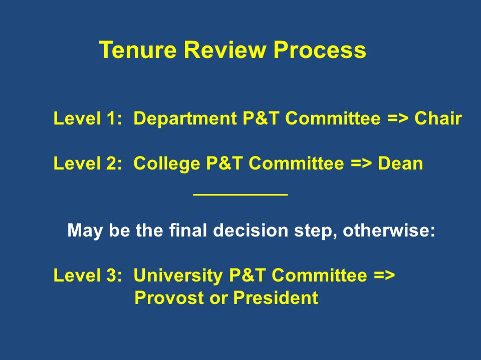 Tenure Review Process Level 2: College P&T Committee => Dean