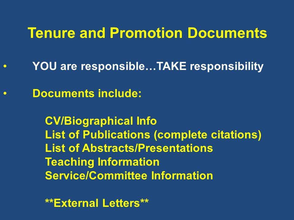 Tenure and Promotion Documents