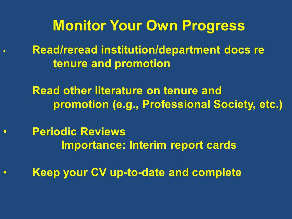 Monitor Your Own Progress