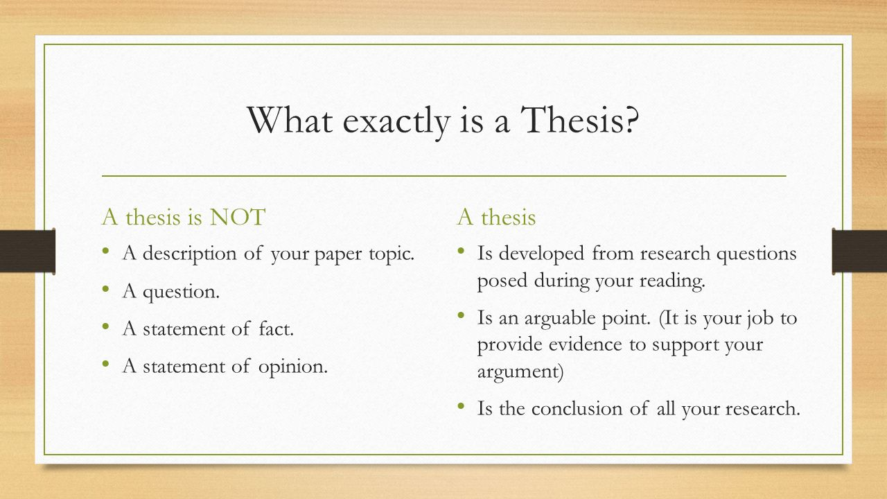 Can a thesis be posed as a question
