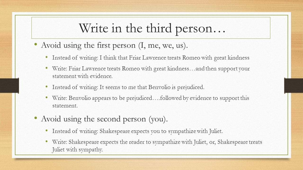 Examples of Writing in Third Person