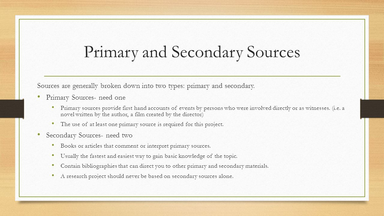What is the Difference between the Primary and Secondary Sources?