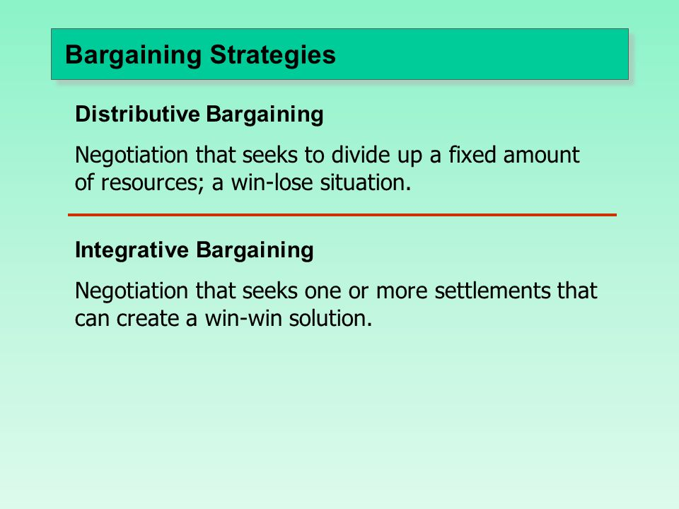 characteristics of distributive bargaining Integrative bargaining characteristics of a distributive bargaining situation from mgmt 2100 at australian national university.