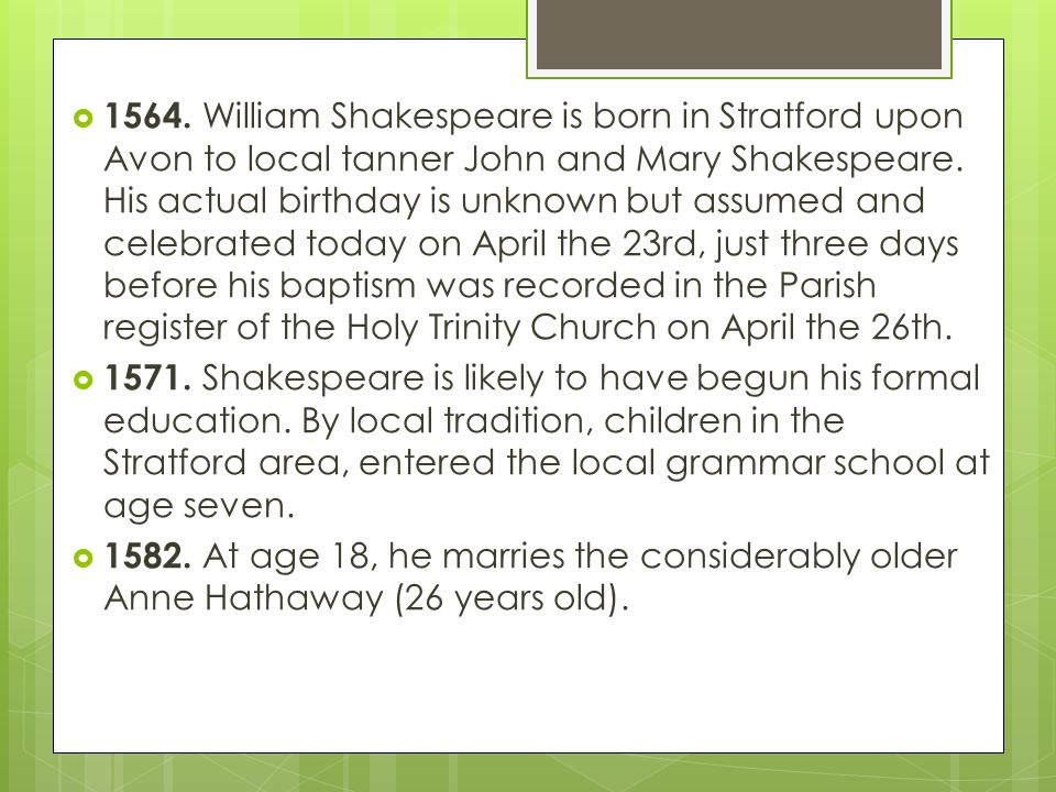 the early education of william shakespeare Shmoop guide to william shakespeare education college, university and other william shakespeare education info compiled by phds and masters from stanford, harvard, berkeley.