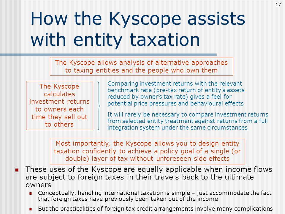 How the Kyscope assists with entity taxation