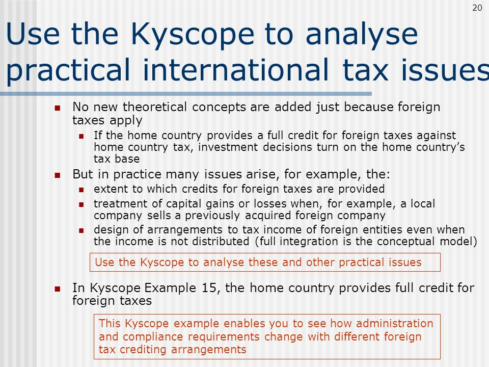 Use the Kyscope to analyse practical international tax issues