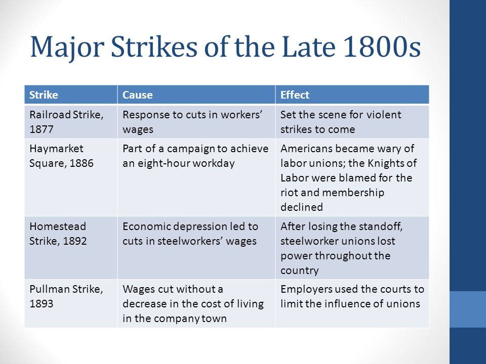 causes and effects homestead strike