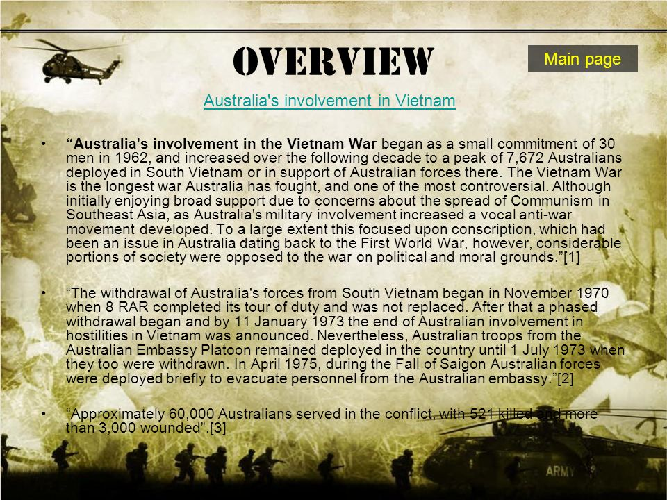 an overview of the australian involvement in the vietnam war Australia's proud military heritage began with the arrival of three companies of marines  the australian army training team vietnam  australian war memorial.